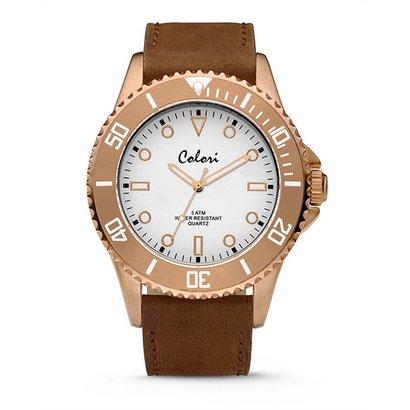 Colori Colori Horloge Timber horloge wit/rosé goud