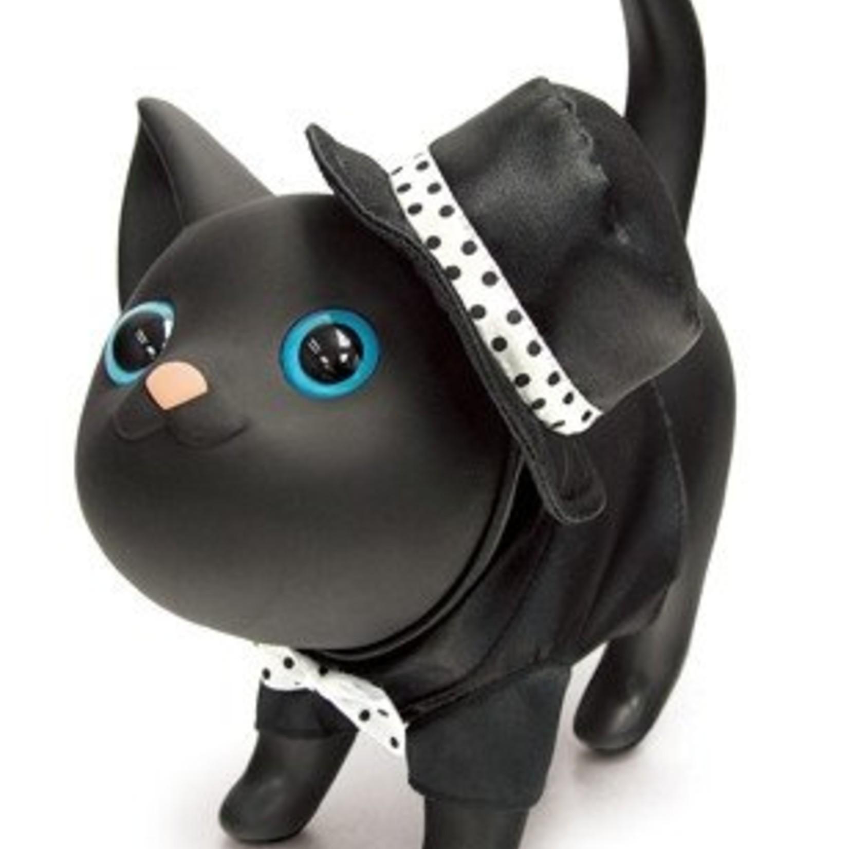 Spaarpot Katty zwart met zwart hoedje