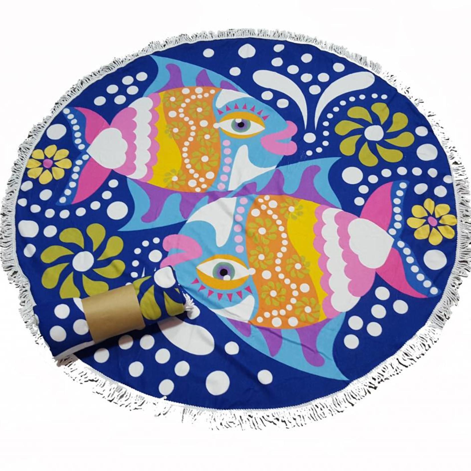 Roundie beach towel - rond strandlaken - badstof- boho - Ibiza handdoek bali stijl - Blue Fish