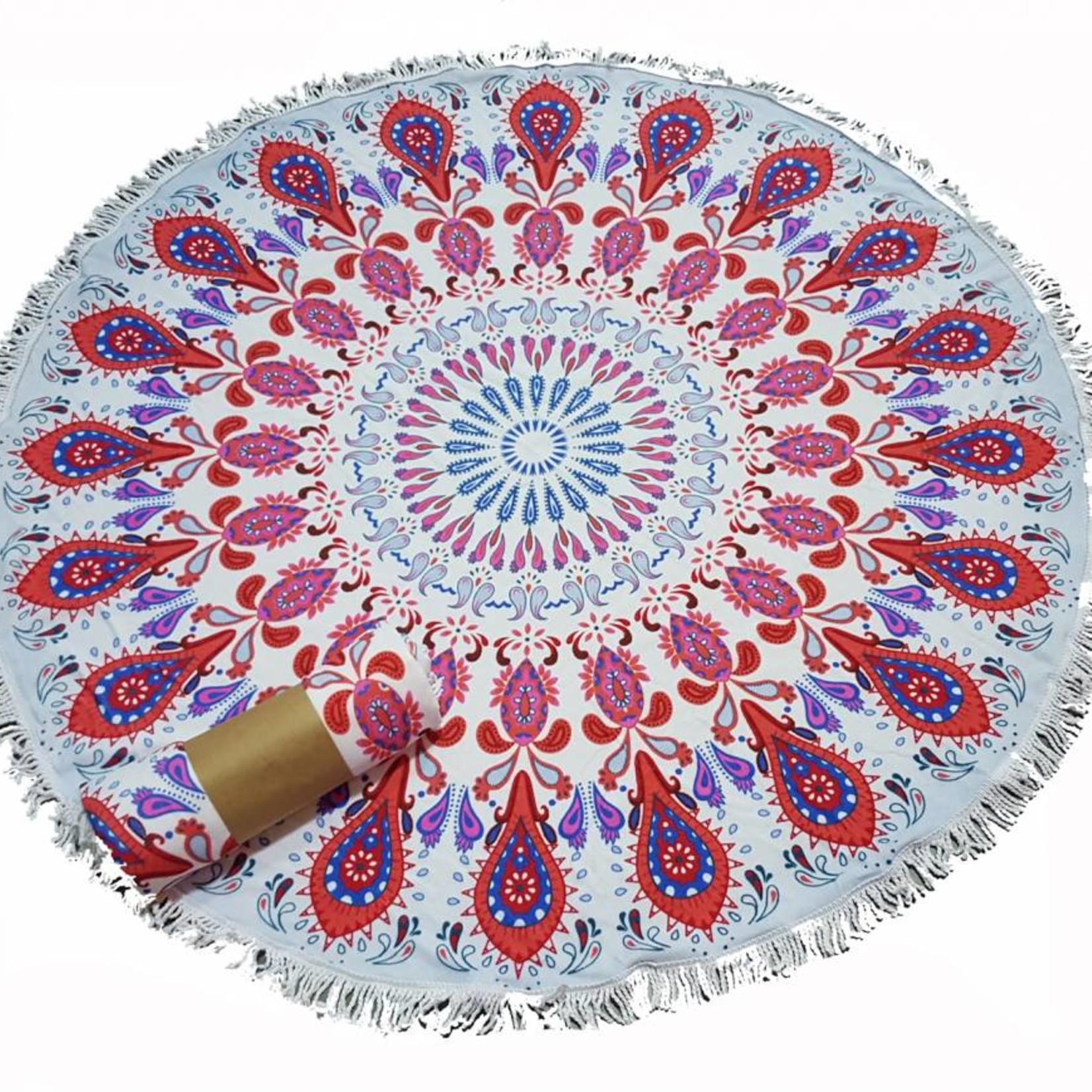 Roundie beach towel - rond strandlaken - badstof- boho - Ibiza handdoek bali stijl - Mandala Red