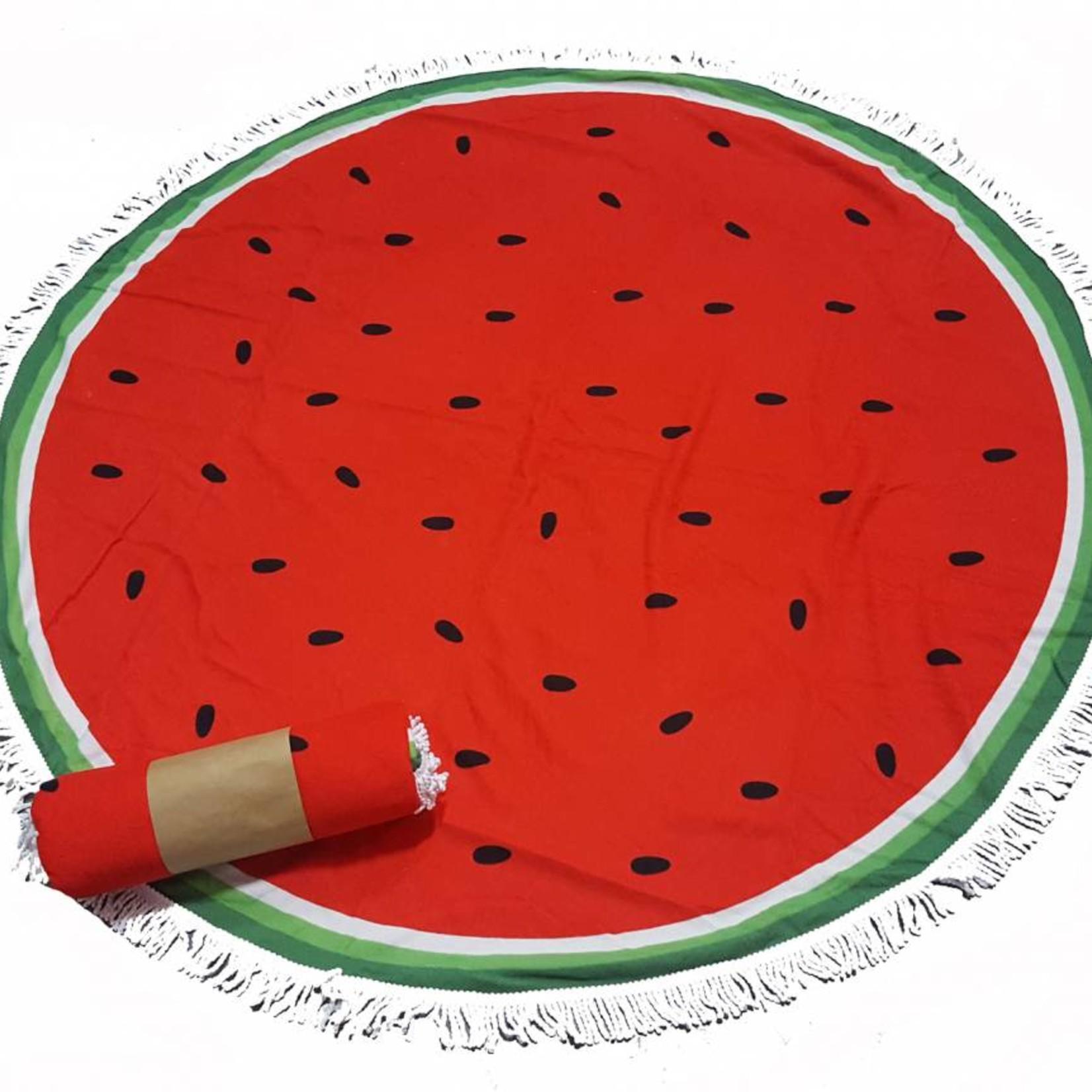 Roundie beach towel - rond strandlaken - badstof- boho - Ibiza handdoek bali stijl - Meloen