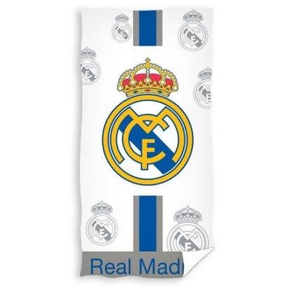 Badlaken real madrid wit/blauw Logo's : 70x140 cm