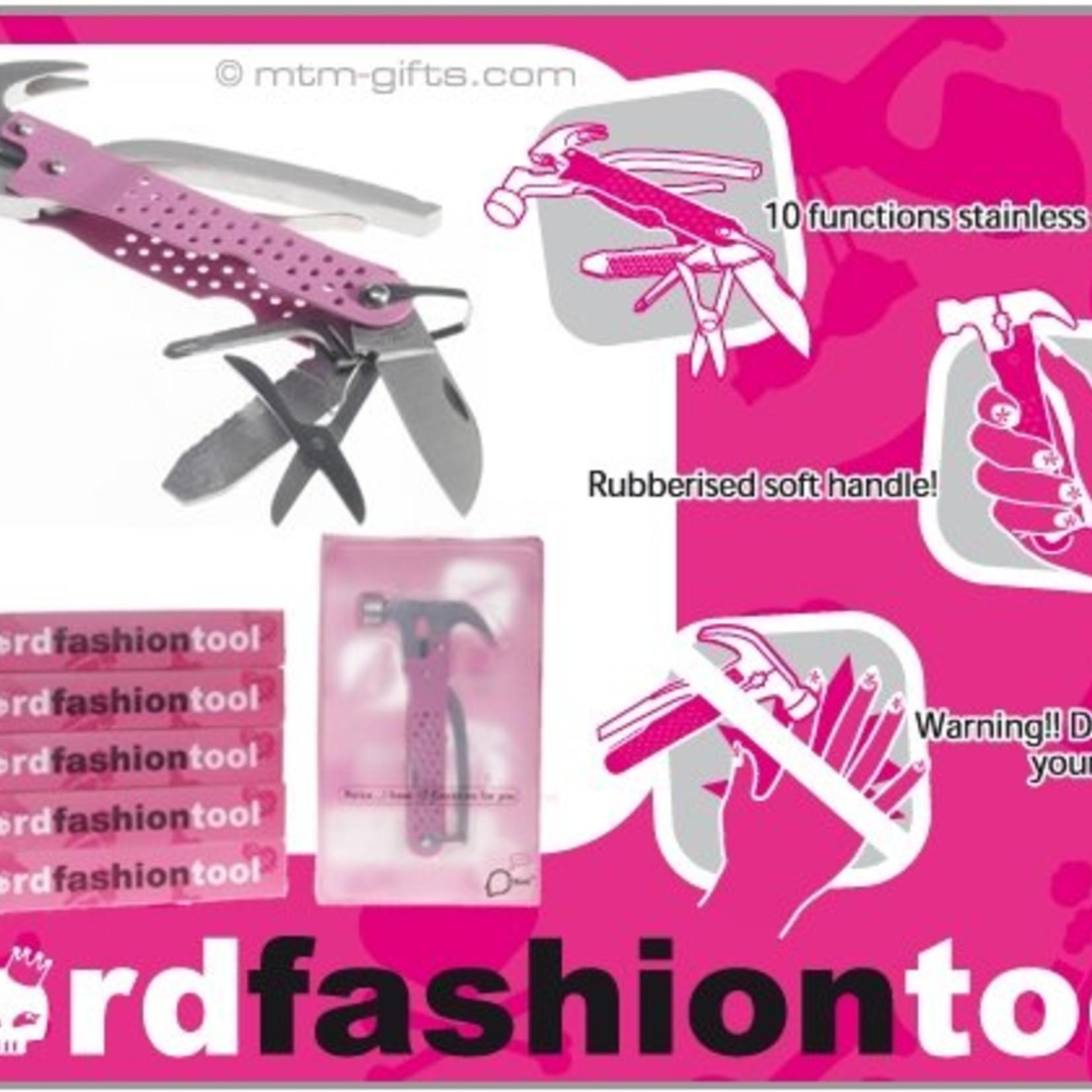 DHINK® Pink Fashion Tool stainless steel met hamer, knijp- en kniptang, vijl, flesopener, schaartje, zaag, mes en schroevendraaier(2). Rubberbekleding, zachte handgreep.