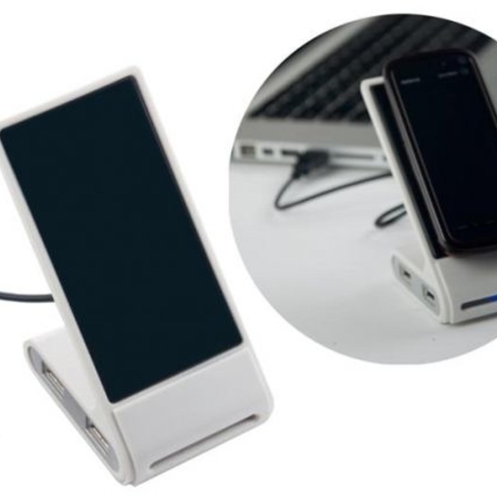 USB Hub met een handige standaard voor je mobiel. Hub heeft 4 USB 2.0 poortjes.