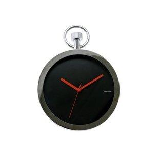 Wandklok Pocket Watch chrome black KA5056BK