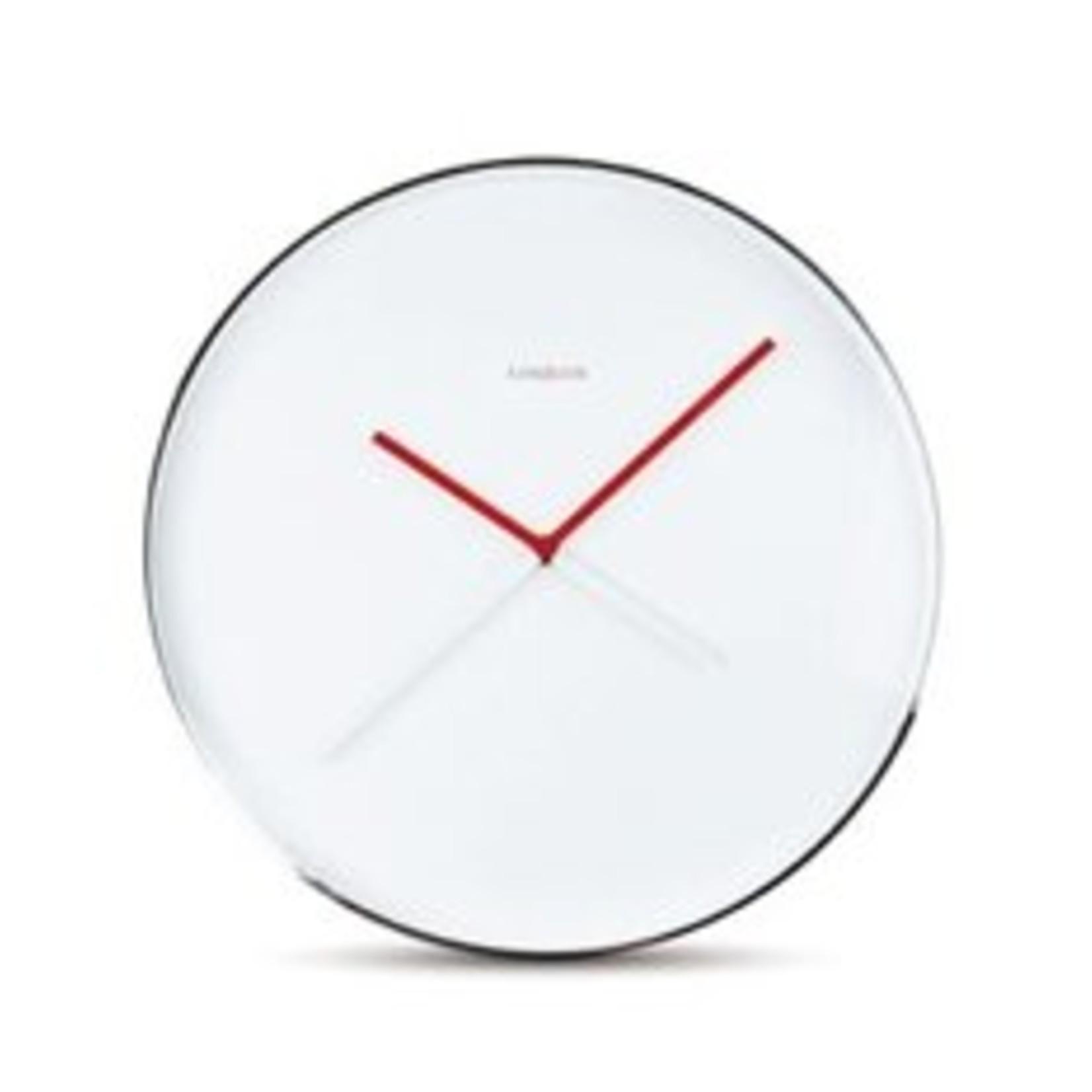 Karlsson Design klok Symmetry van designer Viktor Harmens. De klok heeft 2 rode en 2 witte wijzer die gelijk lopen.