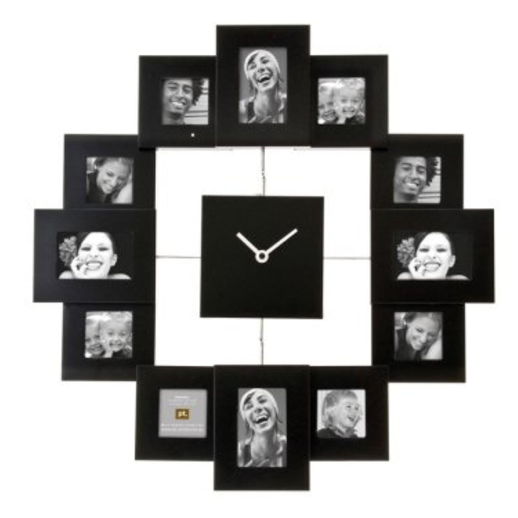 PT Fotolijst klok Family Time alu voor 12 foto's. Doorsnee 40cm.