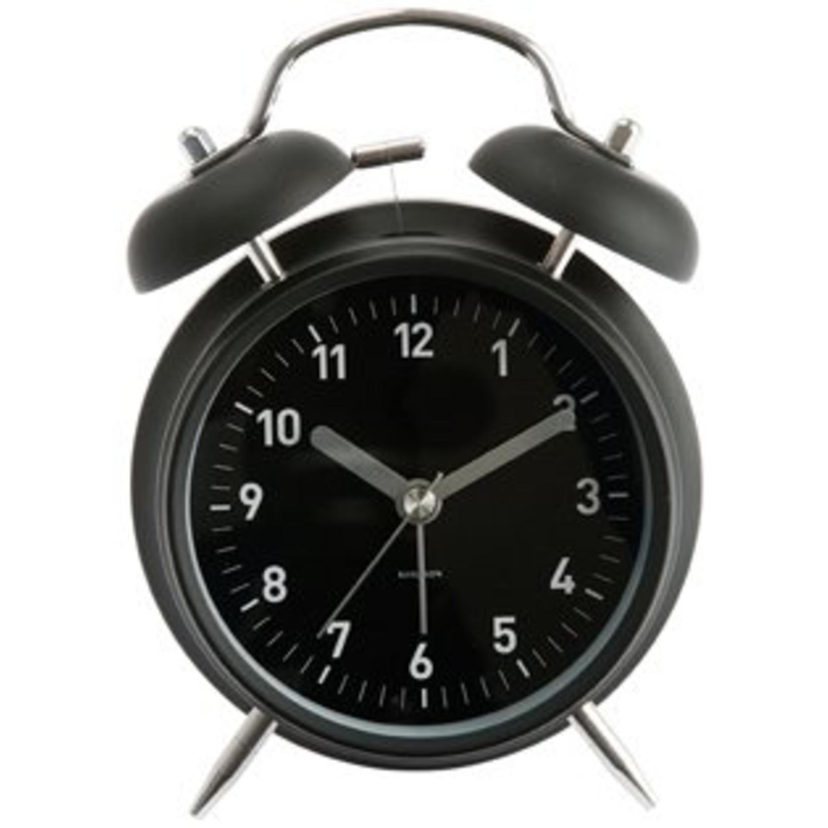 PT Mooie mat zwarte wekker met twee bellen zodat je altijd op tijd uit bed bent.