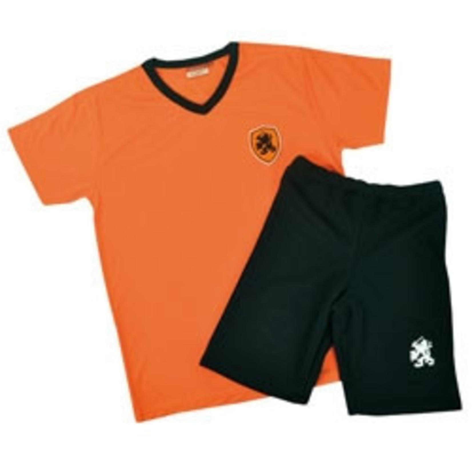 Kidsset oranje/zwart polyester maat164