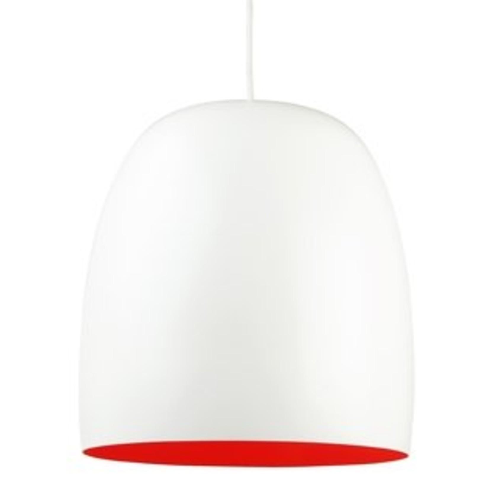 Leitmotiv stijlvolle ei-vormige lamp in wit uitgevoerd met een oranje binnenkant