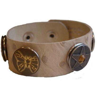 Babouche Baboos Babouche armband leer stip creme