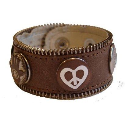 Babouche Baboos Babouche armband leer bruin rits