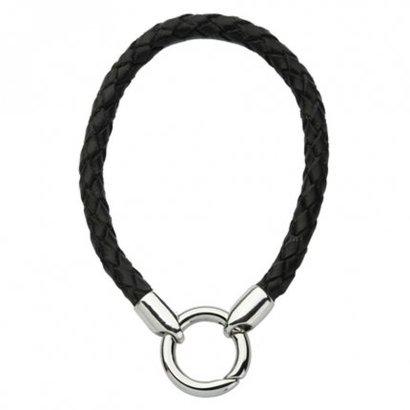 Quoins Quoins armband leer zwart QK-L-Z met slot