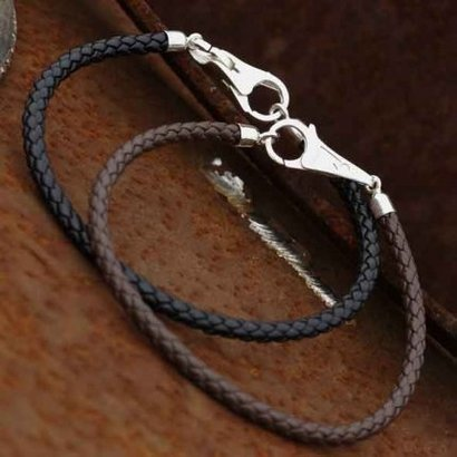Watsup Silver Armband leer 4mm zwart