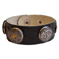 Babouche Baboos Babouche armband leer stip zwart