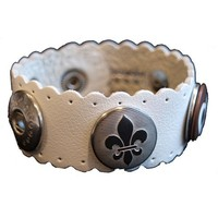 Babouche Baboos Babouche armband leer wave gebroken wit