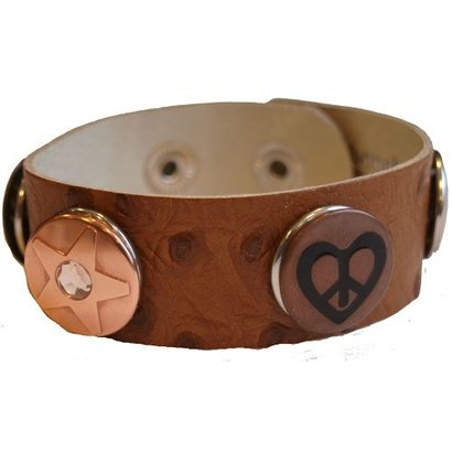 Babouche Baboos Babouche armband leer stip bruin