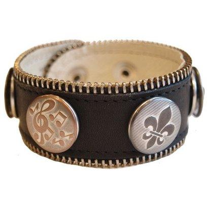 Babouche Baboos Babouche armband leer zwart rits