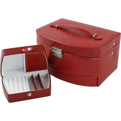 Sieradendoos luxe rood/wit velours uitklapbaar 809