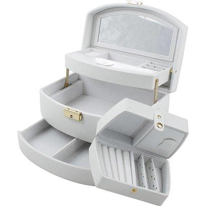 Sieradendoos luxe wit/wit velours uitklapbaar 808