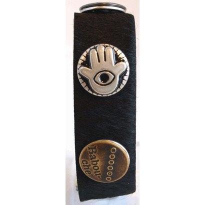 Babouche Baboos Babouche armband leer fur zwart