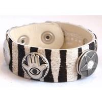 Babouche Baboos Babouche armband leer zebra