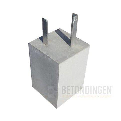 Betonpoer 18x18 en 30 cm hoog met alu. hoeklijn