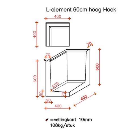 L element hoek 60 cm hoog en 40 cm breed grijs