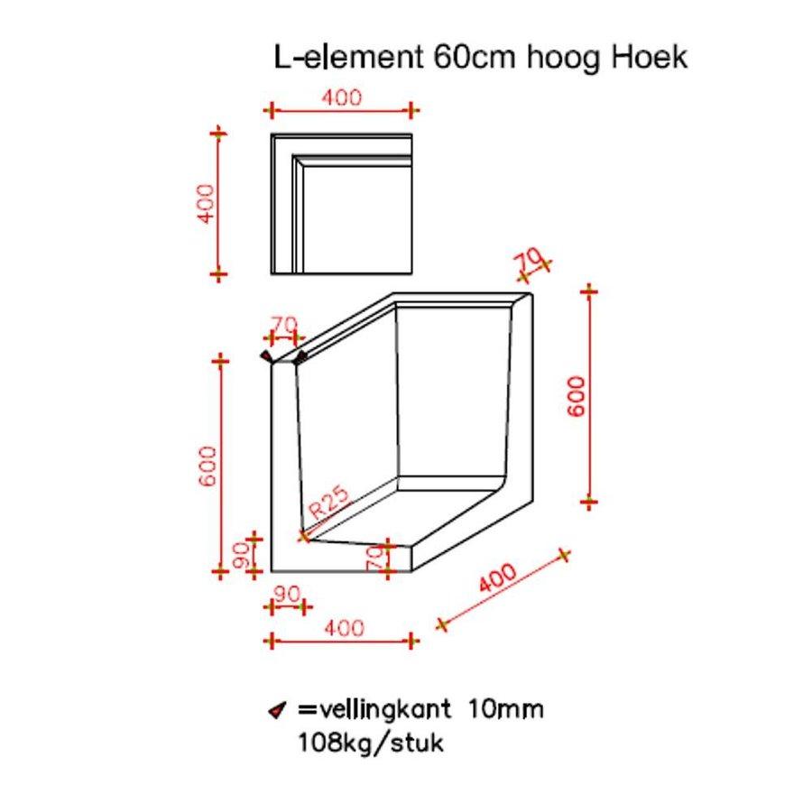 L-hoekelementen grijs 60 cm
