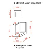 L element hoek 50 cm hoog en 30 cm breed antraciet