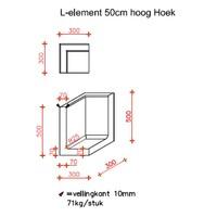 L-elementen hoek 50cm antraciet