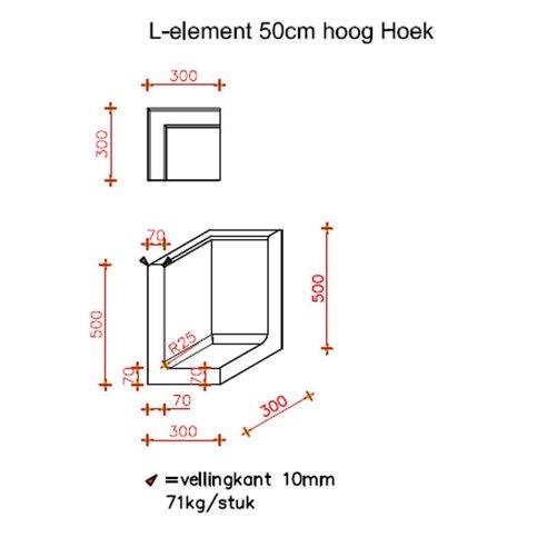 L element hoek 50 cm hoog en 30 cm breed antraciet
