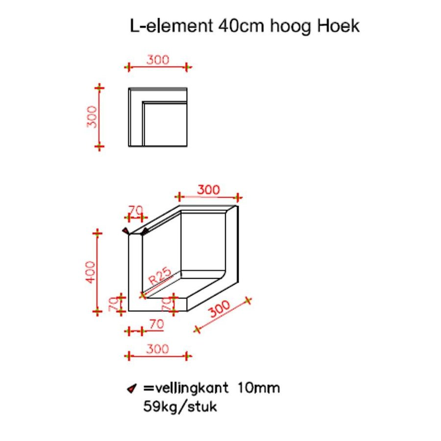 L-hoekelementen antraciet 40 cm