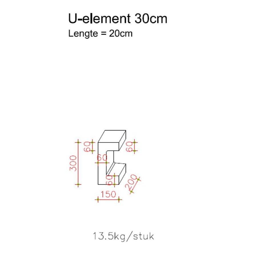U element beton 20x15x30 antraciet