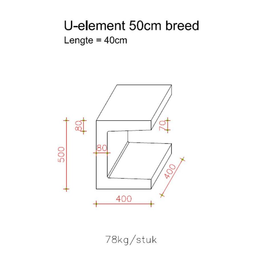 U element 40x40x50cm grijs