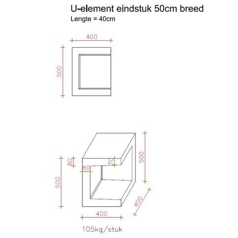 U element hoek 40x40x50 grijs