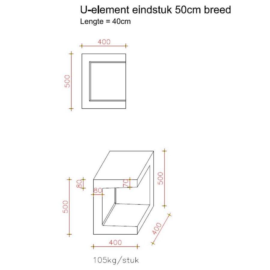 U-elementen beton eindstuk 50cm grijs
