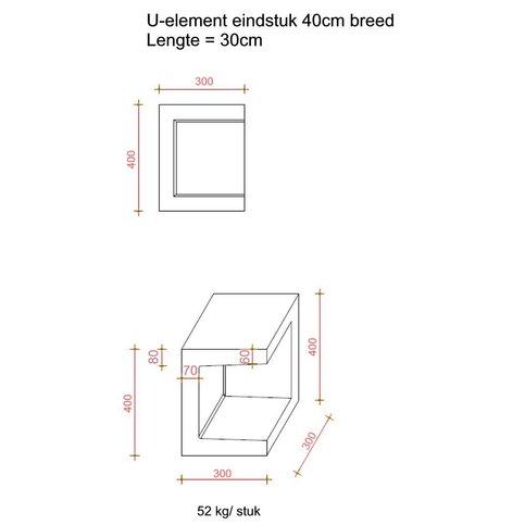 U element hoek 30x30x40 antraciet
