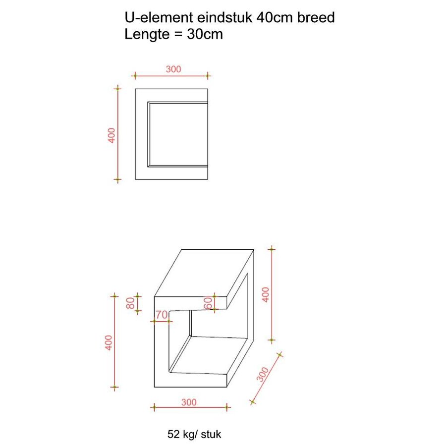 U element hoek 30x30x40 grijs