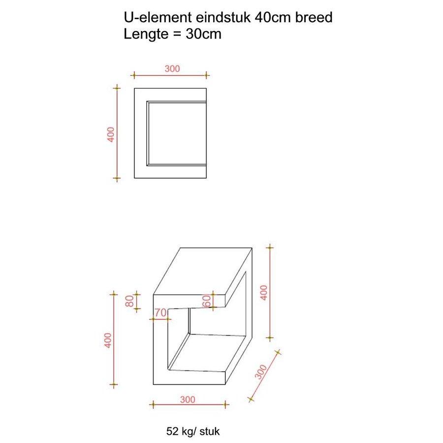 U-elementen beton eindstuk 40cm grijs