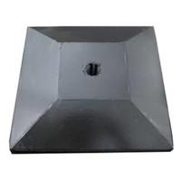 Paalmutsen met een plat stuk plus gat 118 x 118 cm