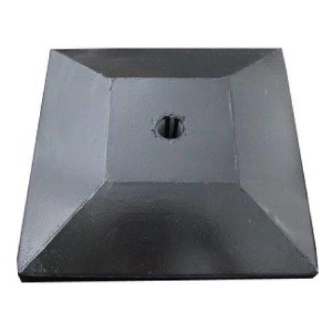 Paalmutsen met een plat stuk + gat 90x90 cm