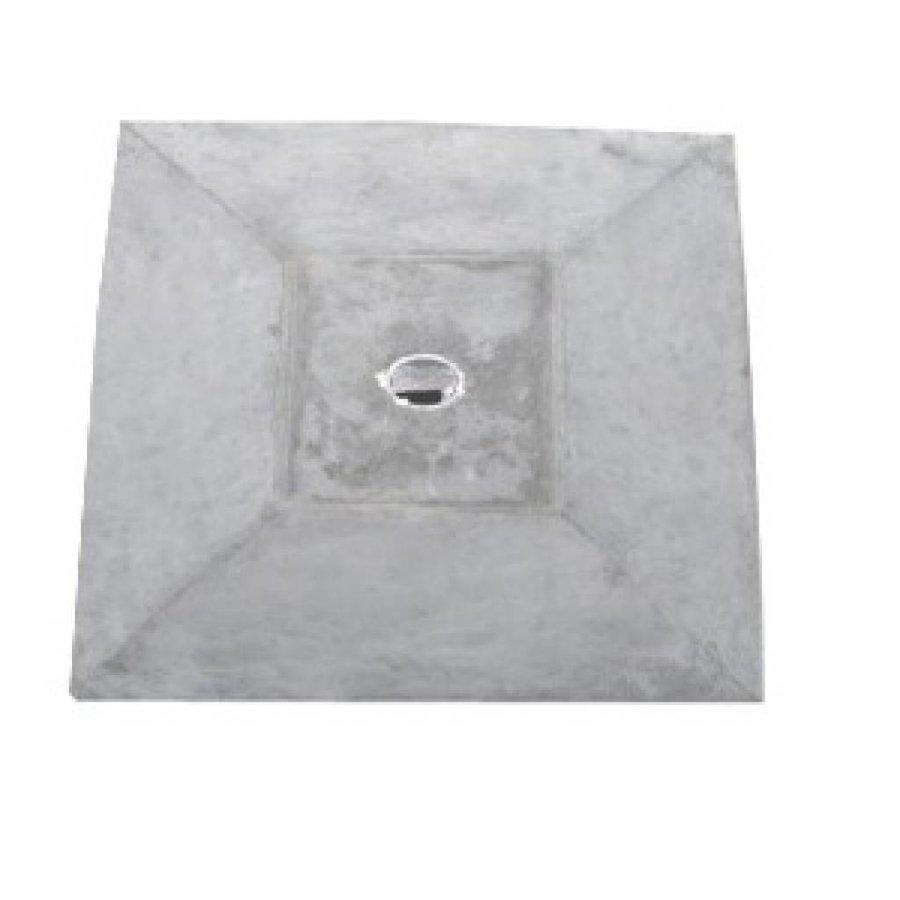 Paalmutsen met een plat stuk + gat 75x75 cm