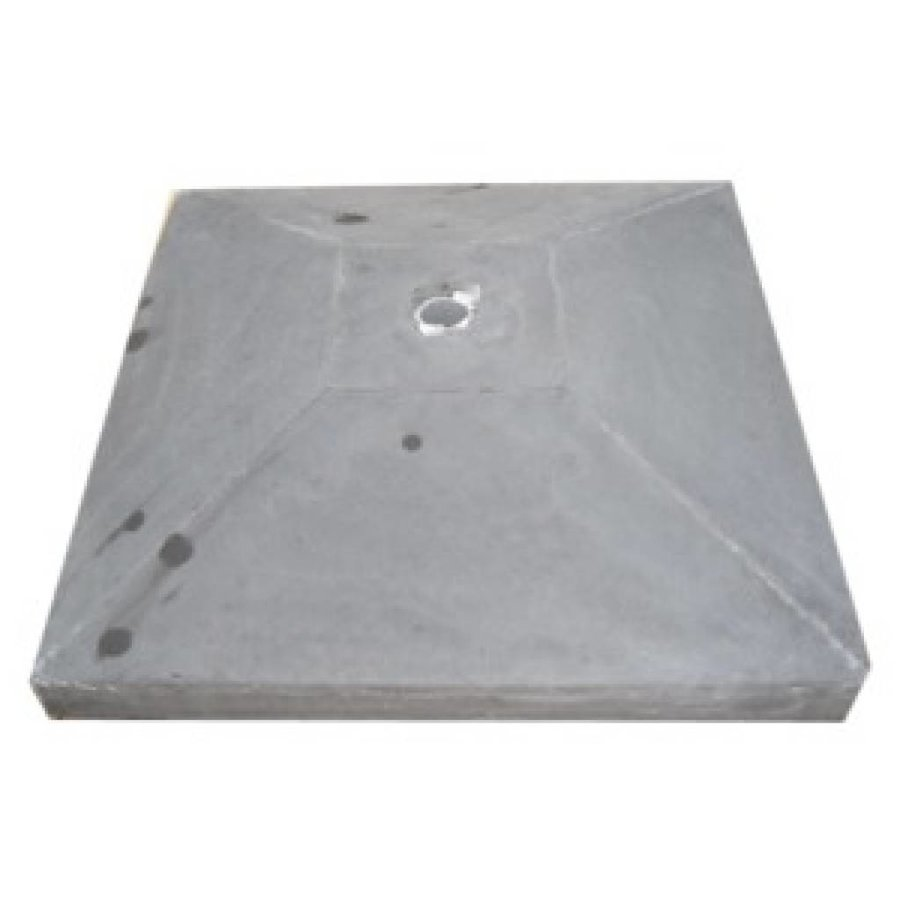 Paalmutsen met een plat stuk plus gat 75 x 75 cm