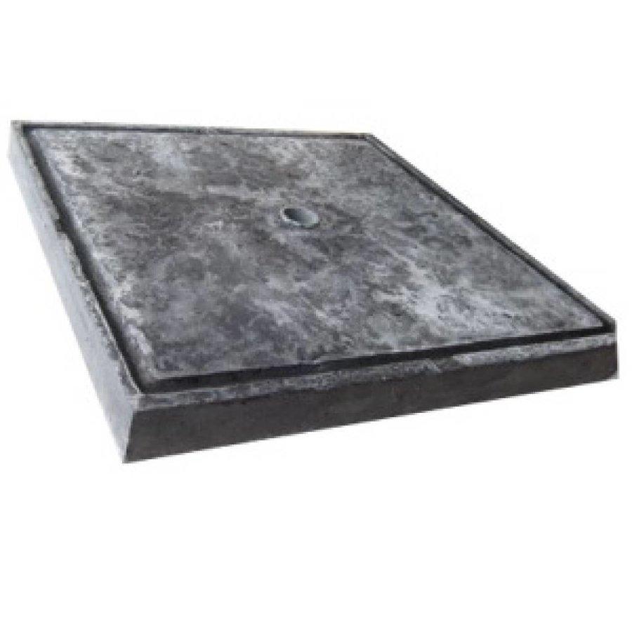 Paalmutsen met een plat stuk + gat 60x60 cm