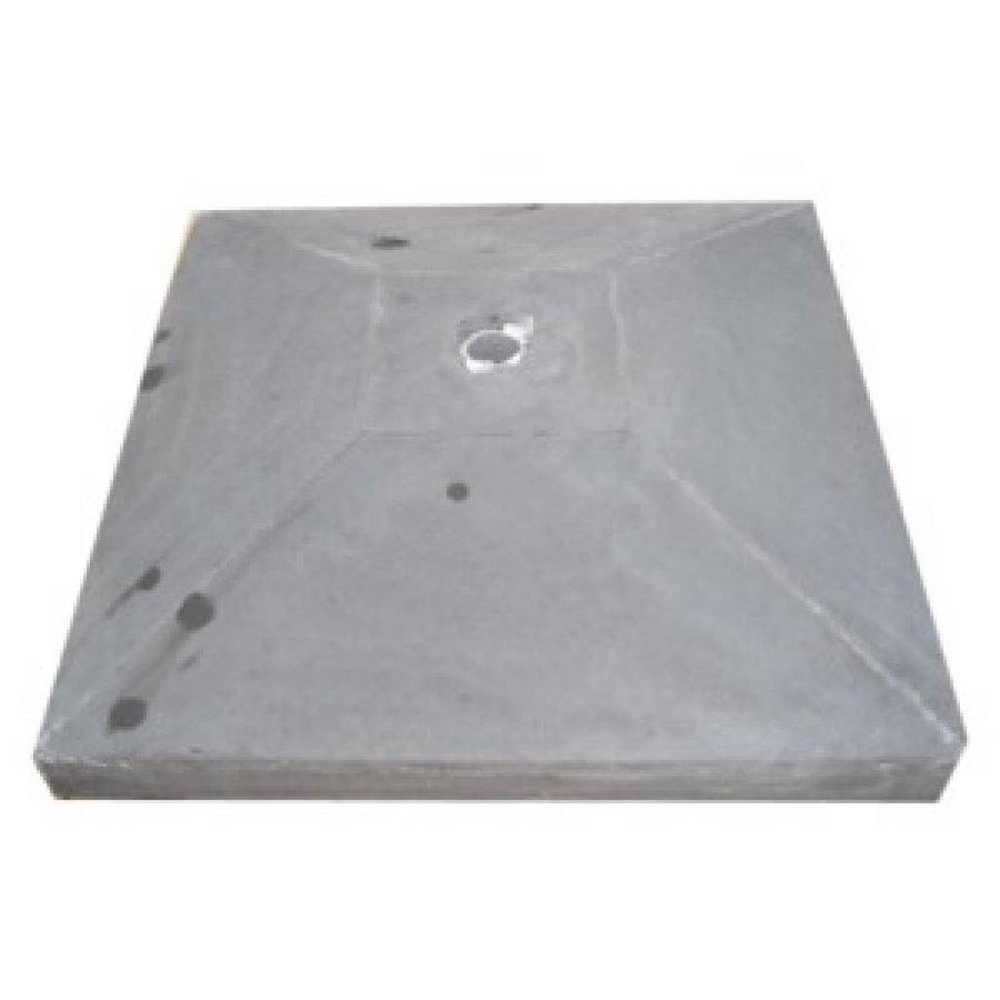 Paalmutsen met een plat stuk plus gat 35 x 44 cm
