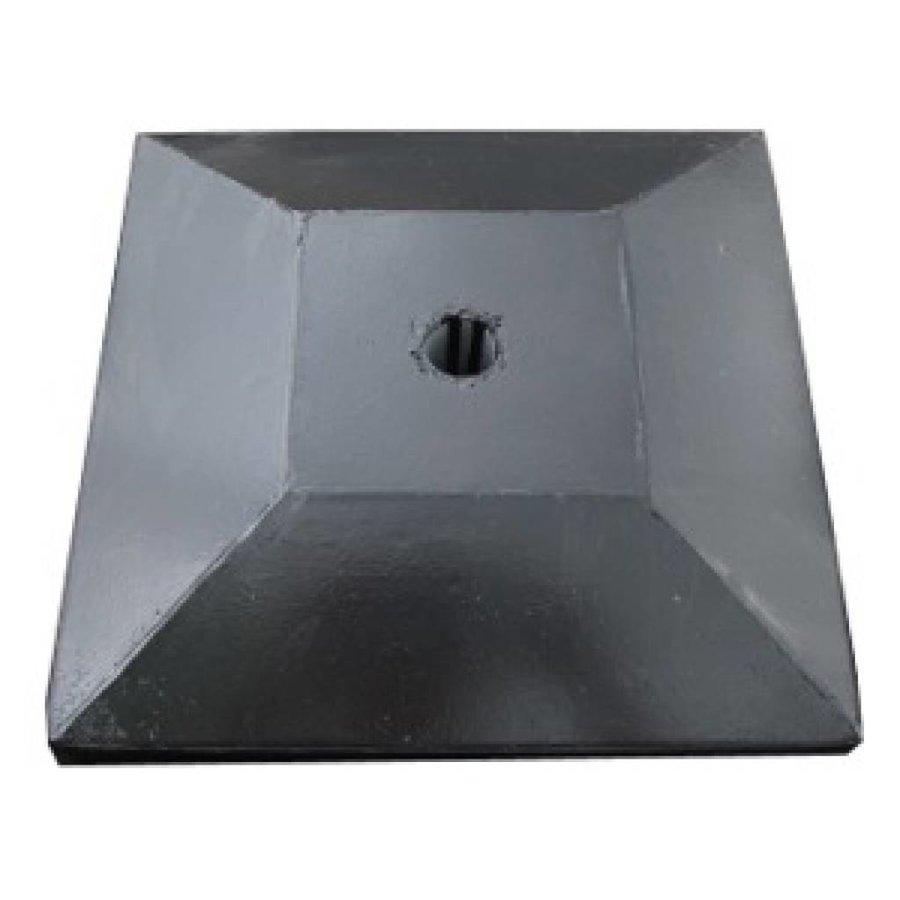 Paalmutsen met een plat stuk plus gat 24 x 24 cm