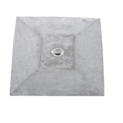 Paalmutsen met een plat stuk + gat 20x20 cm