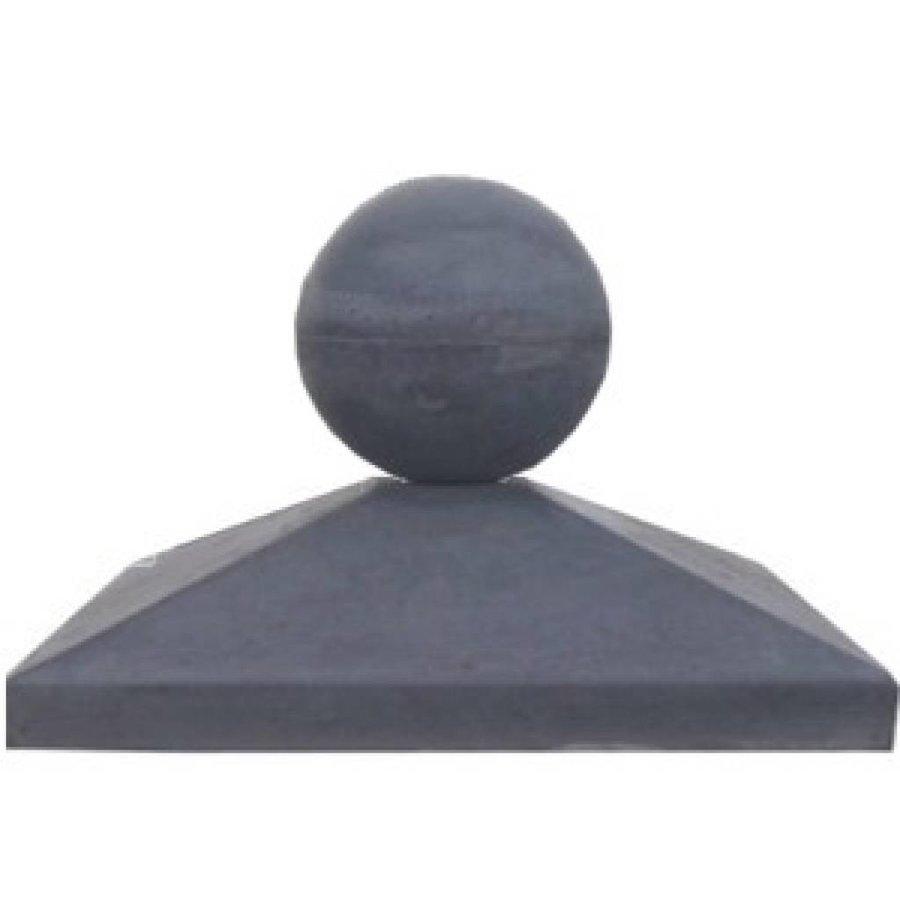 Paalmutsen 20 x 20 cm met een bol van 12 cm