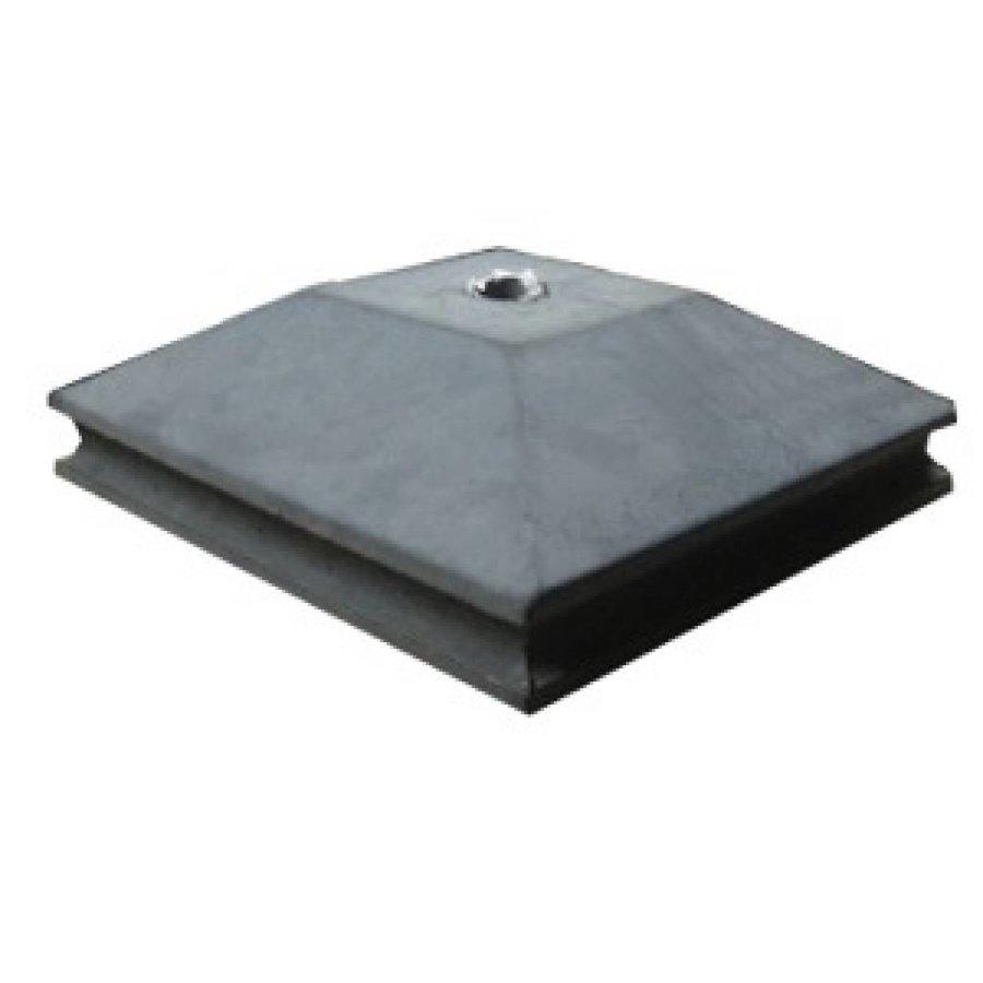 Paalmutsen met een sierrand met een plat stuk + gat 118x118 cm
